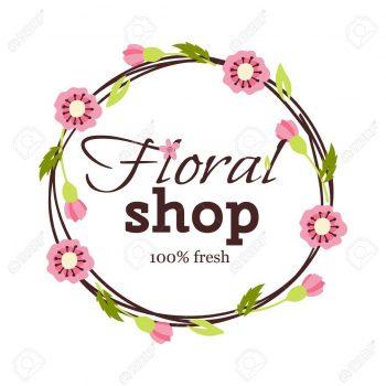 Bright logo for flower shop. Hand drawn emblems and floral signs for flower shop. Flower shop labels. Doodles, sketch floral and gardening logos and signs trendy linear style emblems flower shop.