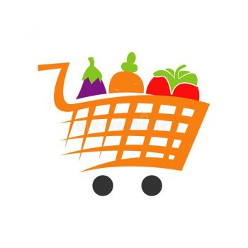 Vegetables Shopping Cart Trolley Grocery Logo Icon Design Vector 171090350